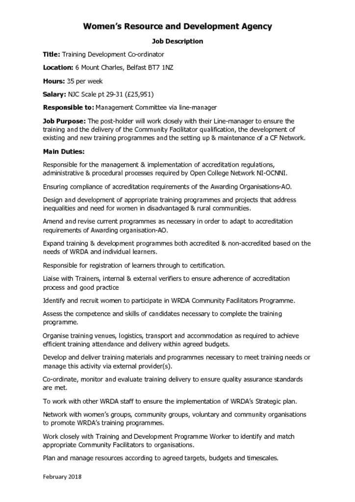 thumbnail of Training Development Co-ordinator Job Description
