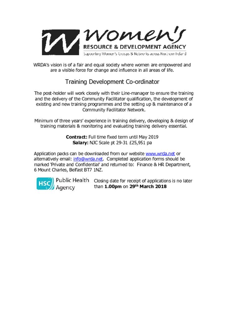 thumbnail of Training Development Co-ordintor Advertisement