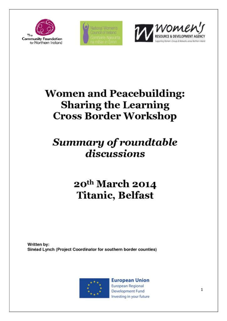 thumbnail of 20 March 2014 REPORT Women and Peacebuilding Titanic