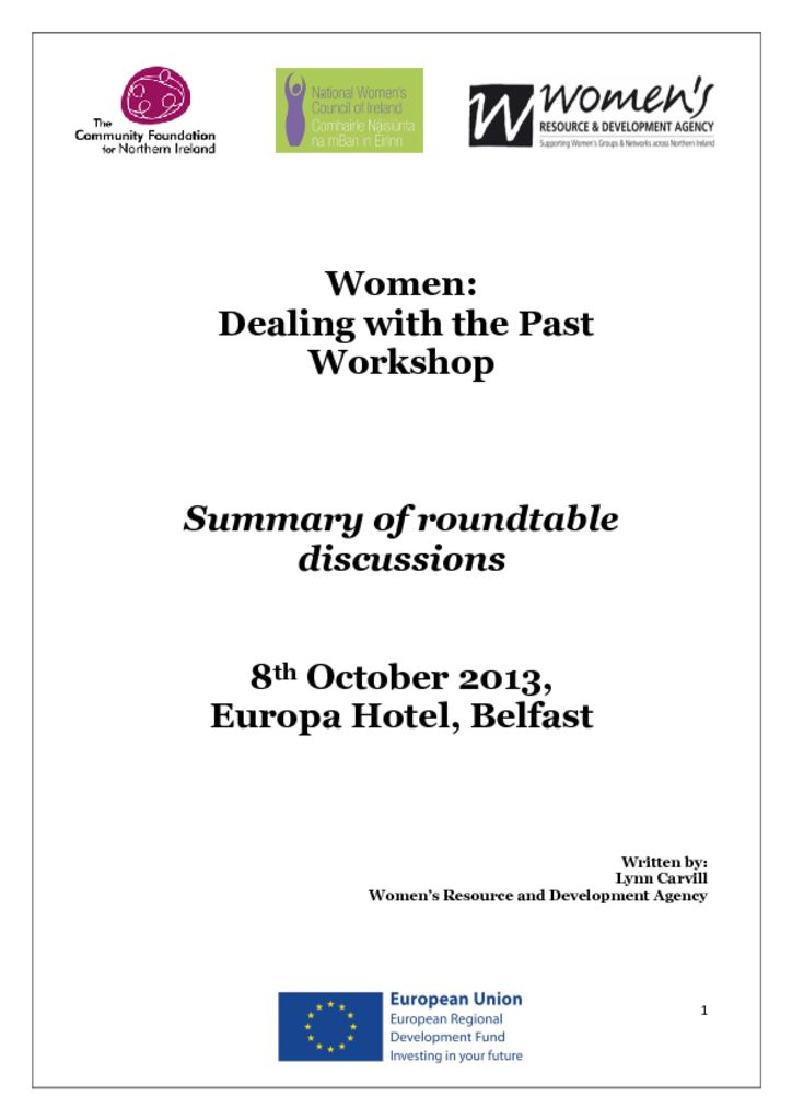 thumbnail of Belfast Women Dealing with the Past Report_8 Oct 2013