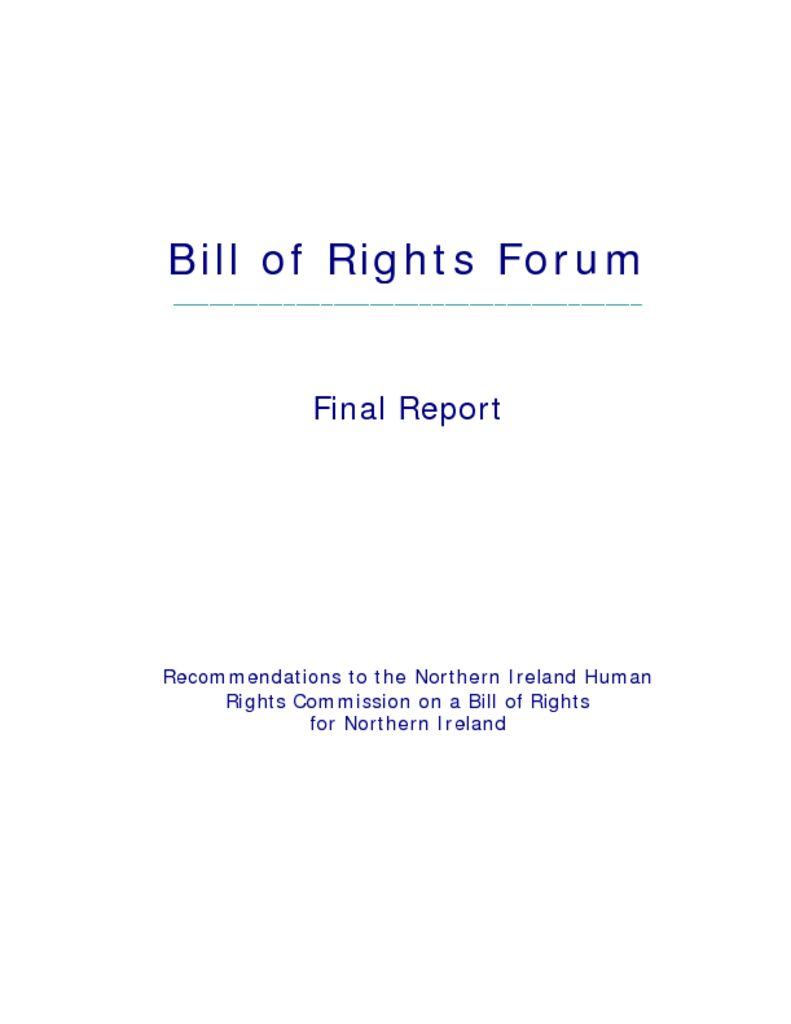 thumbnail of Bill of Rights Forum final report