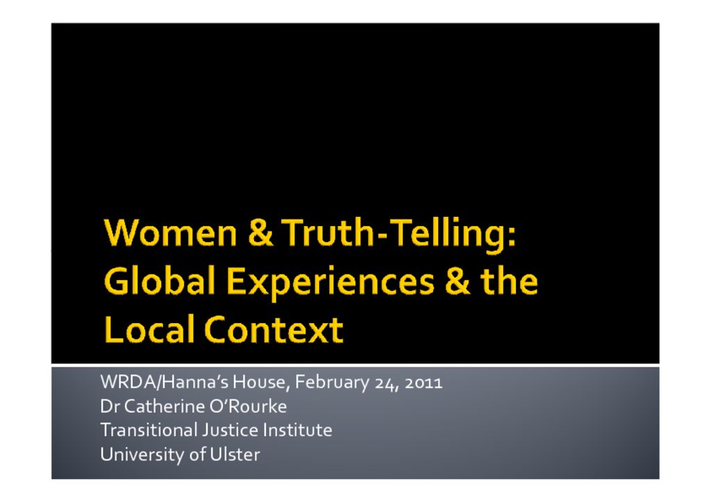 thumbnail of Catherine O'Rourke Women & Truth-Telling Presentation