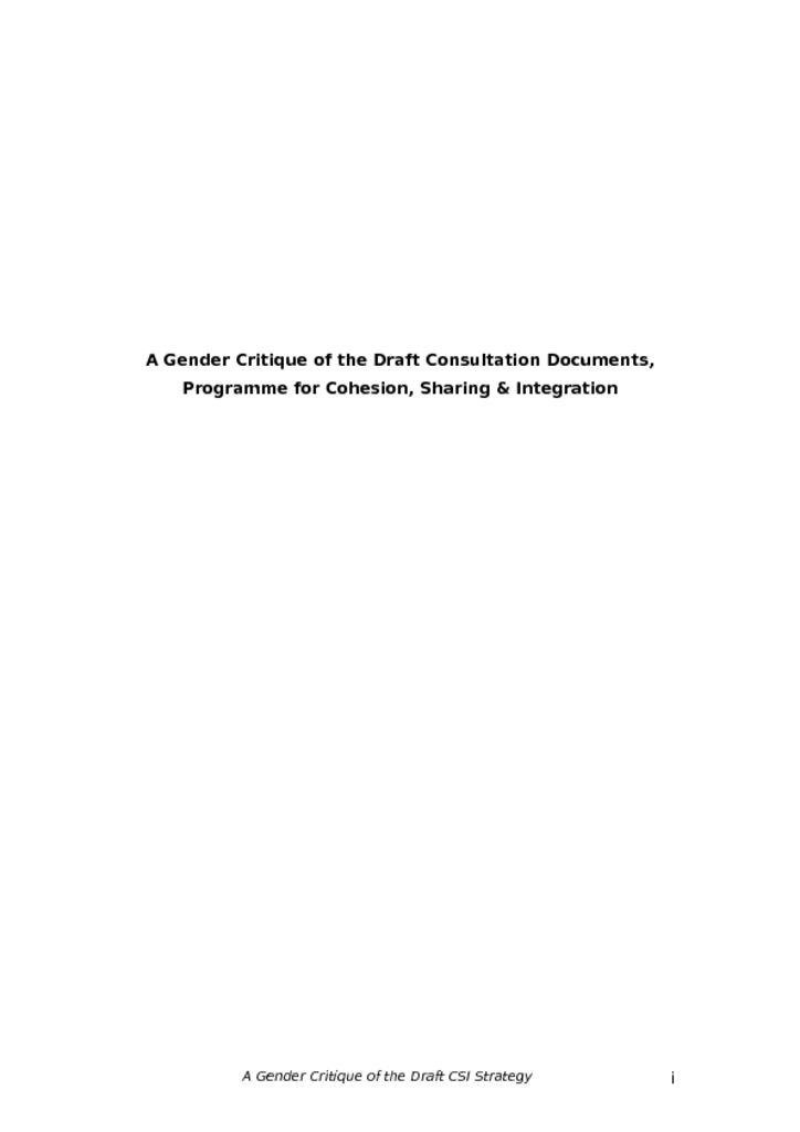 thumbnail of Gender Critique of the Draft CSI Consultation Document