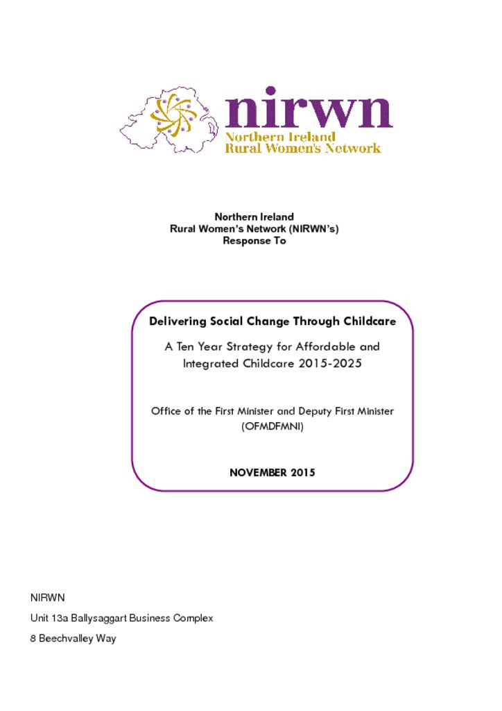 thumbnail of NIRWN Childcare Strategy Response Final