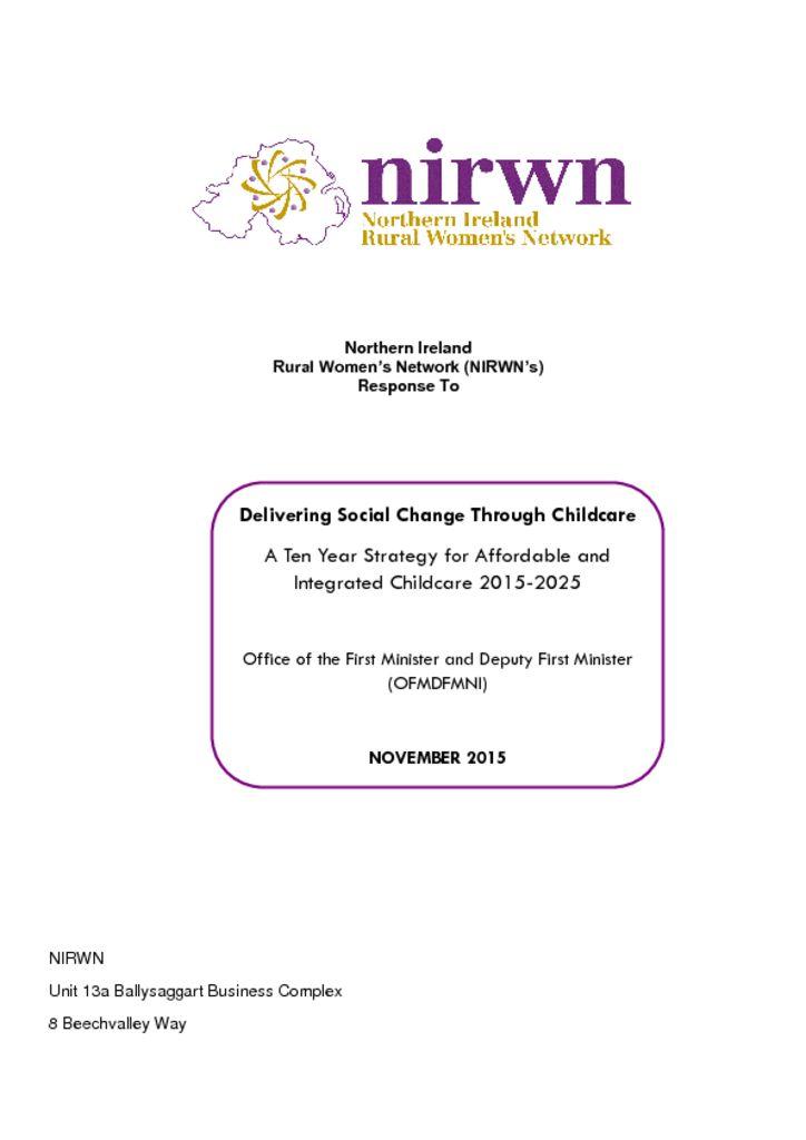 thumbnail of NIRWN Childcare Strategy Response Final