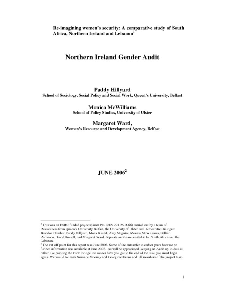 thumbnail of Northern Ireland Gender Audit. June '06