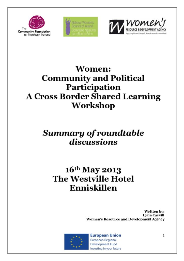 thumbnail of Women Community and Political Participation (Cross Border Workshop) Enniskillen 16th May 2013