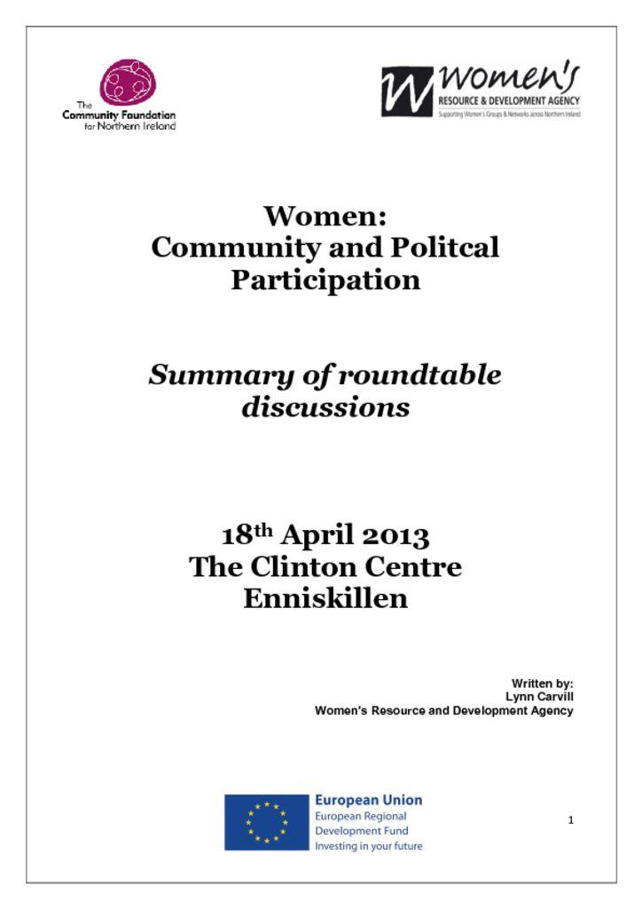 thumbnail of Women Community and Political Participation Enniskillen, 18th April 2013