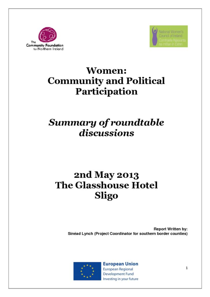 thumbnail of Women Community and Political Participation Sligo 2nd May 2013