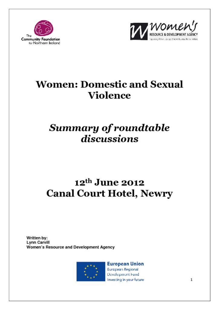 thumbnail of Women Domestic and Sexual Violence – Newry, 12th June 2012