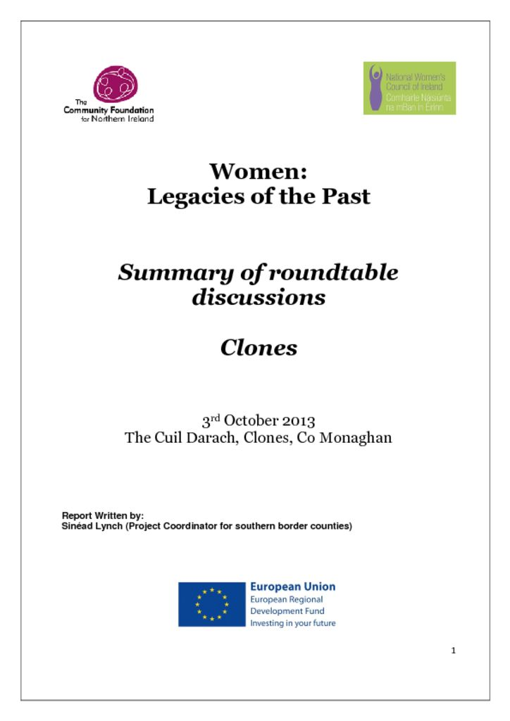 thumbnail of Women Legacies of the Past Clones 3rd October 2013