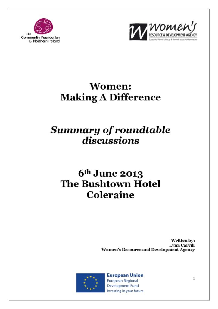 thumbnail of Women Making a Difference Coleraine 6th June 2013