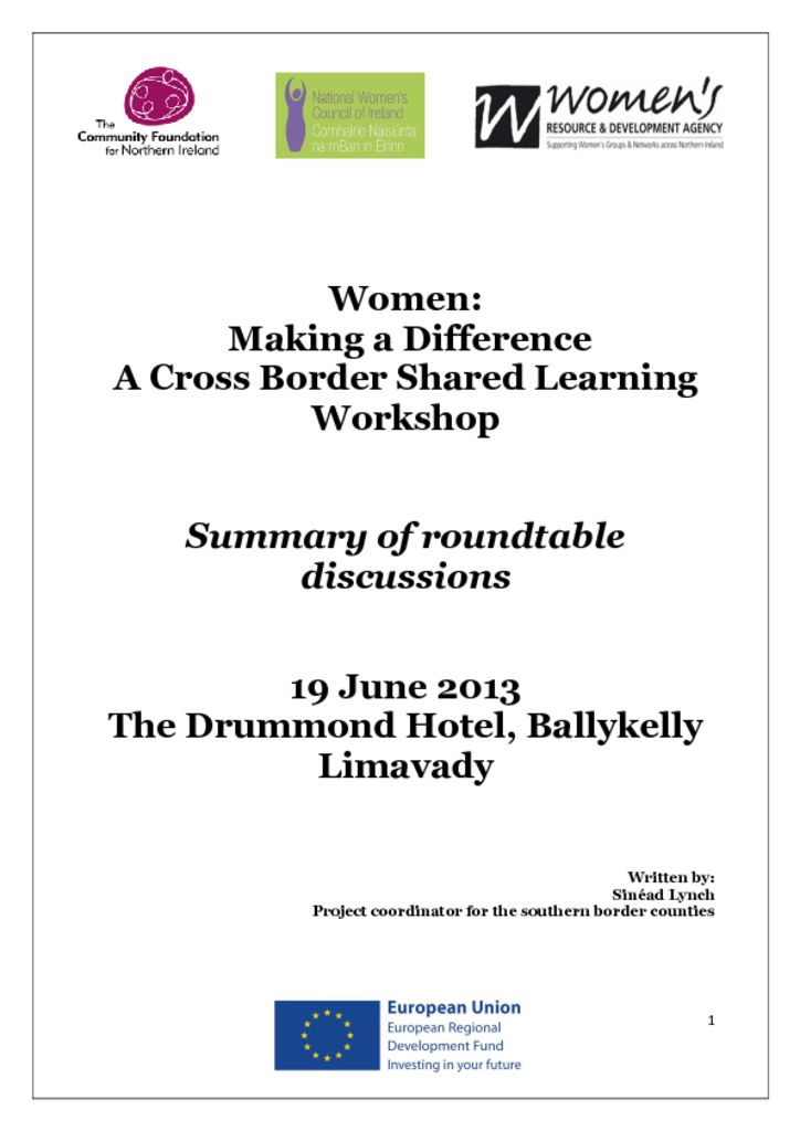 thumbnail of Women Making a Difference (Cross Border Shared Learning Workshop) Limavady 19th June 2013