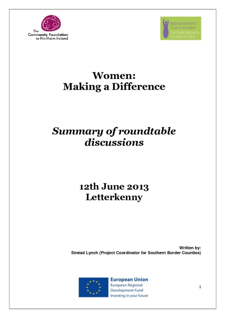 thumbnail of Women Making a Difference Letterkenny 12th June 2013