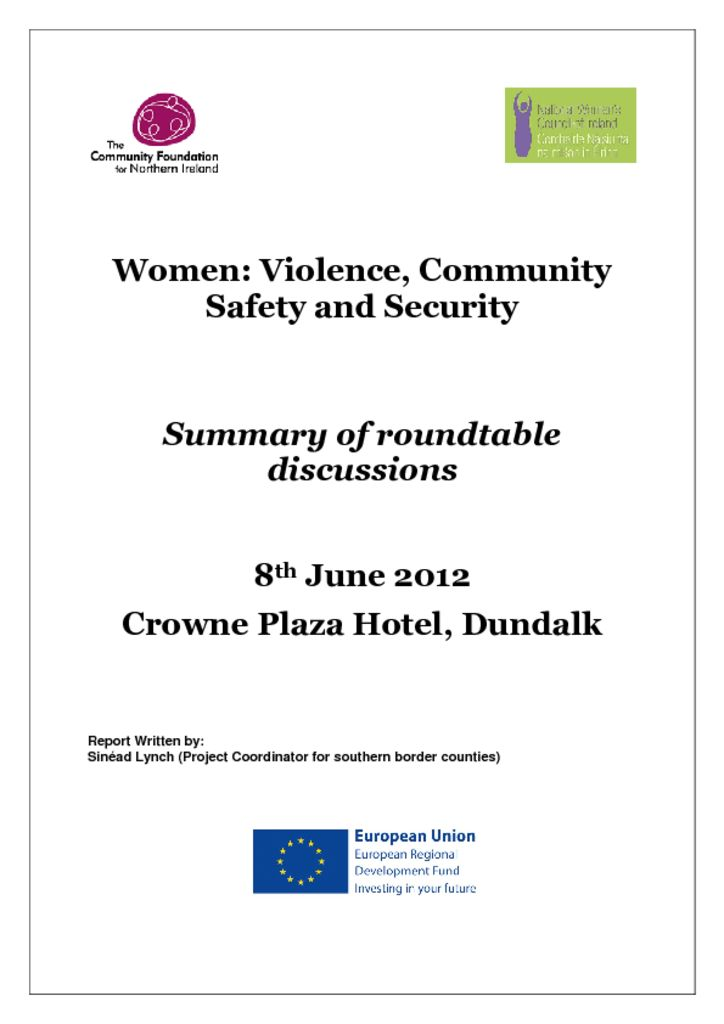 thumbnail of Women Violence, Community Safety and Security – Dundalk 8th June 2012