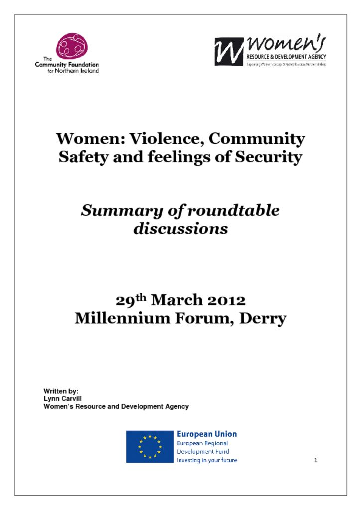 thumbnail of Women Violence, Community Safety and feelings of security DerryLondonderry 29th March 2012