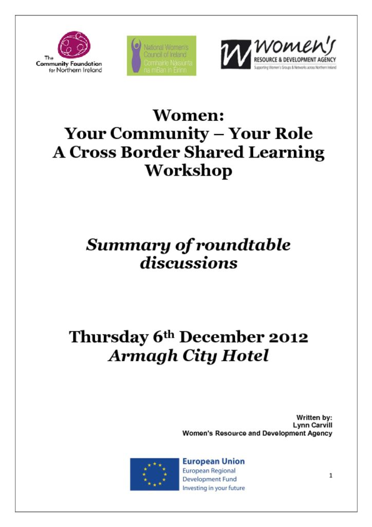 thumbnail of Women Your Community, Your Role Cross Border Workshop Armagh 6th December 2012