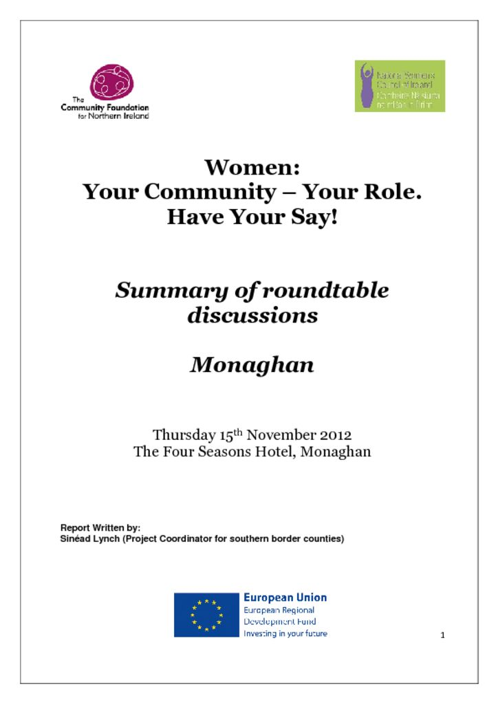 thumbnail of Women Your Community Your Role Monaghan 15th November 2012