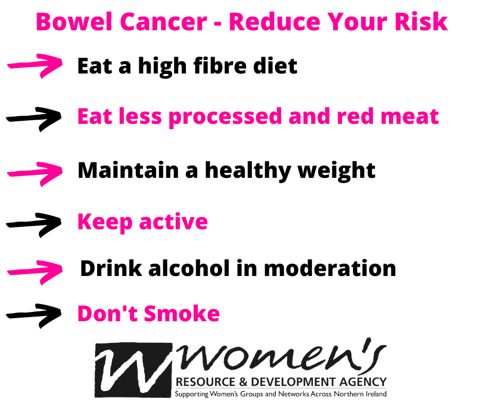 Bowel cancer - reduce your risk. Eat a high fibre diet, eat less processed and red meat, maintain a healthy weight, keep active, drink in moderation, don't smoke.