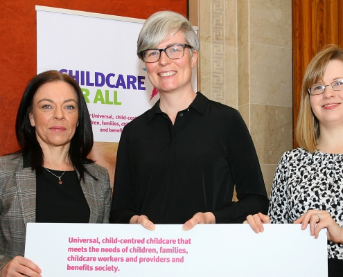 Claire Bailey Green Party MLA, Kellie Turtle Women's Sector Lobbyist and Aoife Hamilton Employers for Childcare at the launch of the ChildCare for All Charter